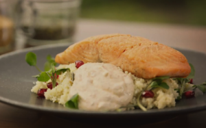 Salmon-with-Pomegranate-and-Watercress-Couscous