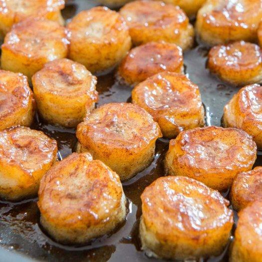 pan fried honey bananas